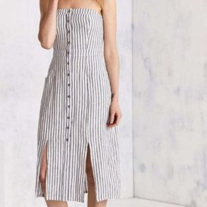 BDG Striped Strapless Button Midi Dress Size 8